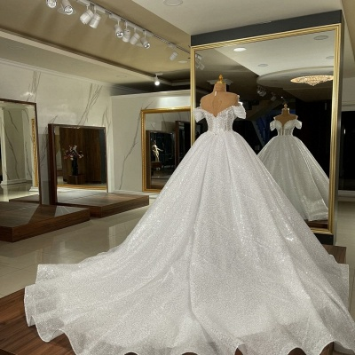 Sequins Off The Shoulder White Ruffles Wedding Dresses Long_3