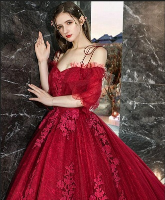 Luxury Off The Shoulder Tulle Ruby Appliques Ball Gown Evening Dresses Long_5