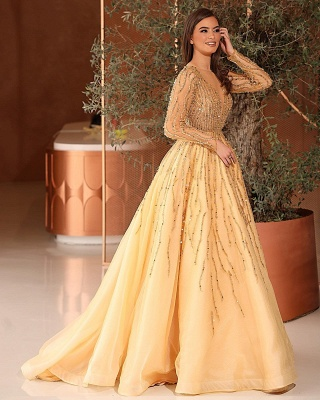 Gorgeous Tulle Daffodil Crystal A-Line Prom Dresses With Long Sleeves_2