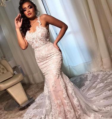 Elegant Spaghetti Straps White Appliques Mermaid Wedding Dresses_3