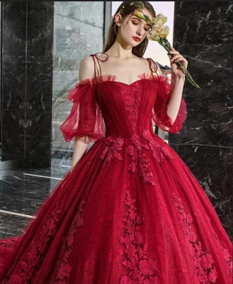 Luxury Off The Shoulder Tulle Ruby Appliques Ball Gown Evening Dresses Long_4