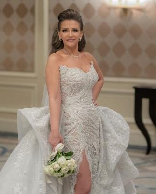 Graceful Sweetheart Sleeveless Lace Split Wedding Dresses A-Line_4