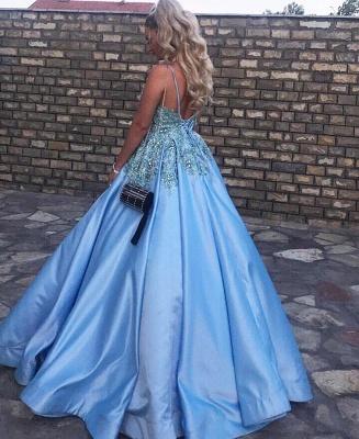 Luxury Sleeveless V Neck Satin Lake Blue Appliques Prom Dresses_3