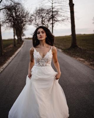 Spaghetti Straps Tulle Lace Appliques Wedding Dresses_2