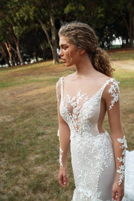 Graceful Backless Square Lace Mermaid Wedding Dresses With Long Sleeves_2