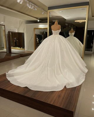 Strapless Tulle Crystal Sequins Ball Gown Wedding Dresses_2