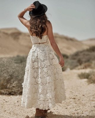 Sleeveless Halter Ivory Lace Ankle-Length A-Line Wedding Dresses_2