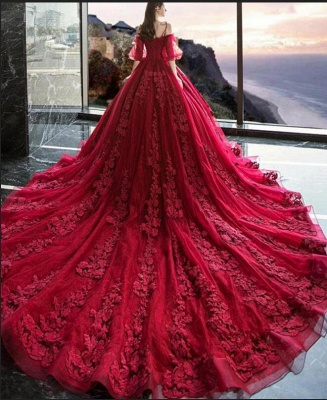 Luxury Off The Shoulder Tulle Ruby Appliques Ball Gown Evening Dresses Long_3