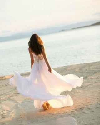Sleek Sleeveless Chiffon White Sweetheart appliques A-Line Wedding Dresses_3