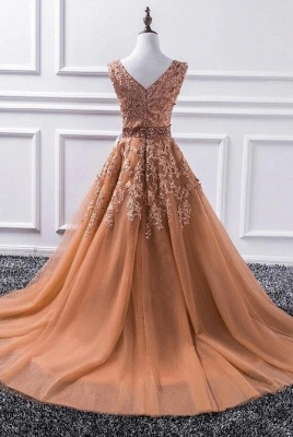 Luxury Sleeveless V Neck Tulle Camel Prom Dresses With Lace Appliques_2