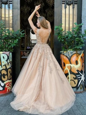 Luxury Sleeveless Tulle Jewel Appliques A-Line Prom Dresses_2