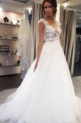 Elegant Jewel Sleeveless A-Line Wedding Dresses With  Appliques_1