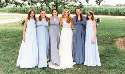 Gorgeous Sleeveless Light Blue Ruffles A-Line Bridesmaid Dresses_5