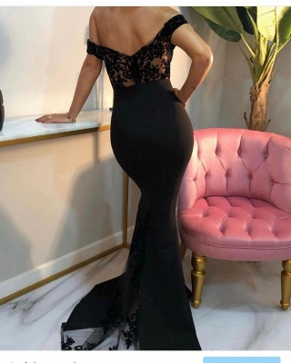 Luxury Off The Shoulder Black Chiffon Lace Mermaid Prom Dresses_2