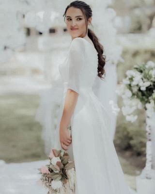 Elegant Jewel White Chiffon Ruffles Wedding Dresses With Half Sleeves_4