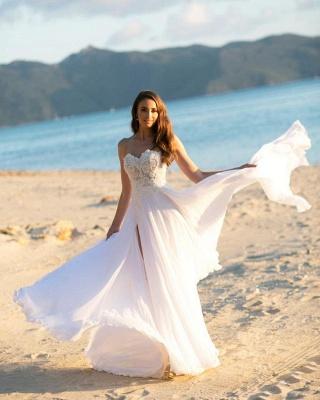 Sleek Sleeveless Chiffon White Sweetheart appliques A-Line Wedding Dresses_2