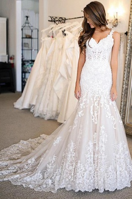 Sleeveless Sweetheart Tulle White Mermaid Wedding Dresses With Appliques_1