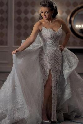 Graceful Sweetheart Sleeveless Lace Split Wedding Dresses A-Line_1