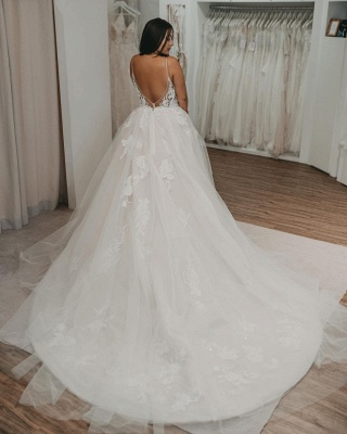 Glamorous Backless White Tulle A-Line Wedding Dresses With Lace Appliques_3