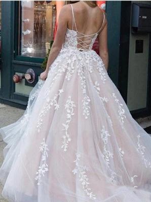 Elegant Spaghetti Straps Tulle Appliques A-Line Prom Dresses_2