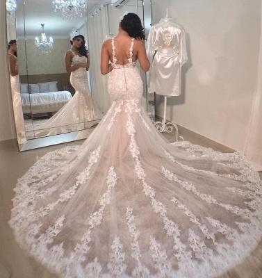 Elegant Spaghetti Straps White Appliques Mermaid Wedding Dresses_2