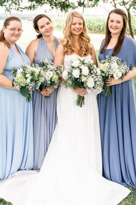 Gorgeous Sleeveless Light Blue Ruffles A-Line Bridesmaid Dresses