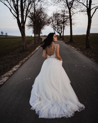 Spaghetti Straps Tulle Lace Appliques Wedding Dresses_3