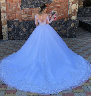 Gorgeous Off The Shoulder Tulle Light Blue Lace Appliques Wedding Dresses With Long Sleeves_2
