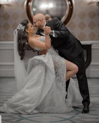 Graceful Sweetheart Sleeveless Lace Split Wedding Dresses A-Line_2