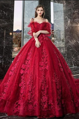 Luxury Off The Shoulder Tulle Ruby Appliques Ball Gown Evening Dresses Long_1