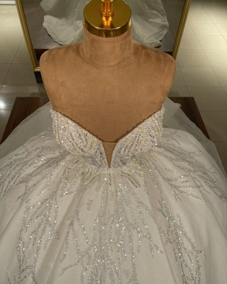 Strapless Tulle Crystal Sequins Ball Gown Wedding Dresses_3