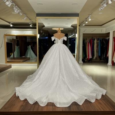 Sequins Off The Shoulder White Ruffles Wedding Dresses Long_2