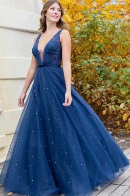 Glamourous Sleeveless Tulle Dark Blue Beading Prom Dresses V Neck Evening Dresses_1