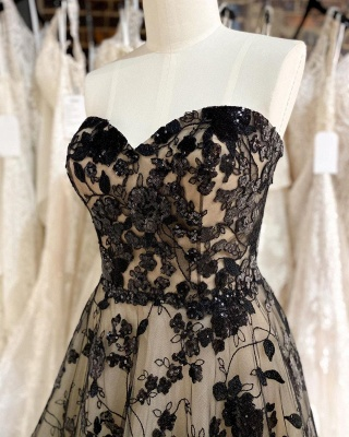 Sexy Strapless Tulle Sweetheart Black Lace Mermaid Wedding Dresses_3
