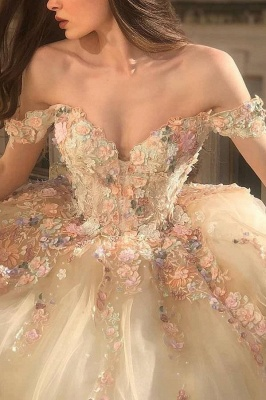 Princess Sweetheart Off The Shoulder Tulle Ball Gown Wedding Dresses With Flowers_3
