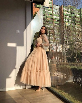 Sweet Tulle Sequins Flesh Color Ankle-Length Wedding Dresses With Long Sleeves_4