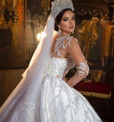 Princess Satin Silver Crystal Wedding Dresses With Long Sleeves_4