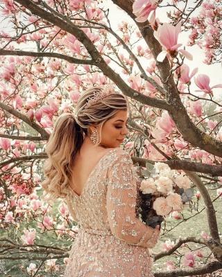 Elegant Long Sleeves Tulle Nude Pink Sequins Split Prom Dresses_4