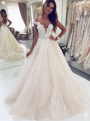 Graceful Off The Shoulder White Tulle Lace A-Line Wedding Dresses_2