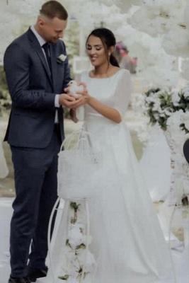 Elegant Jewel White Chiffon Ruffles Wedding Dresses With Half Sleeves_1