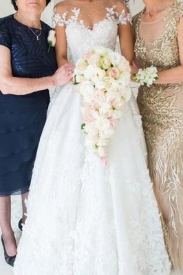 Glamorous Tulle Jewel Beading Appliques  A-Line Wedding Dresses_2