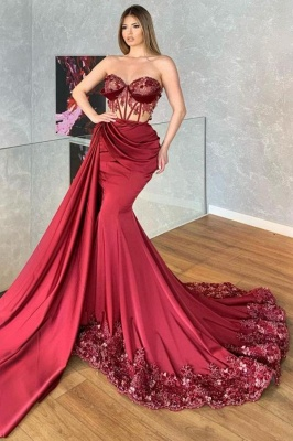 Luxury Strapless Ruby Ruffles Lace Mermaid Prom Dresses_1