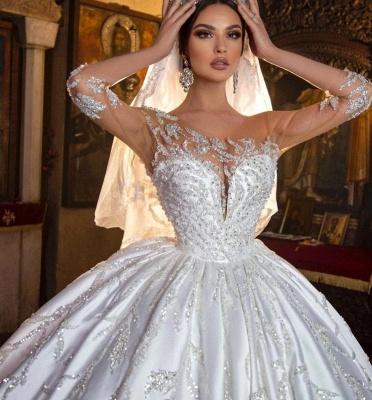 Princess Satin Silver Crystal Wedding Dresses With Long Sleeves_6