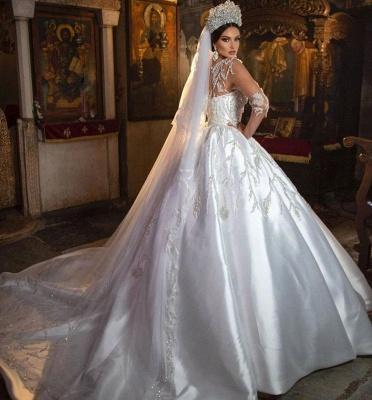 Princess Satin Silver Crystal Wedding Dresses With Long Sleeves_3