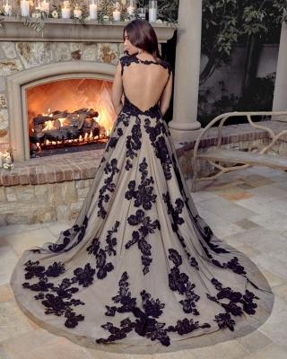 Elegant Backless Sleeveless Tulle Black Wedding Dresses With Lace_2