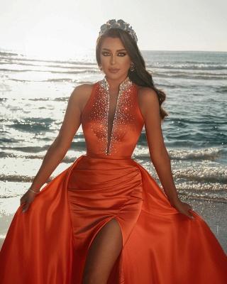 Vintage sleeveless Orange Ruffles Front-Split Mermaid Prom Dresses_2