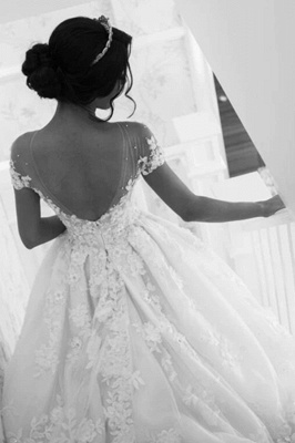 Glamorous Tulle Jewel Beading Appliques  A-Line Wedding Dresses_4