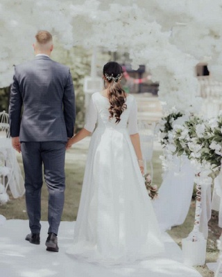 Elegant Jewel White Chiffon Ruffles Wedding Dresses With Half Sleeves_3