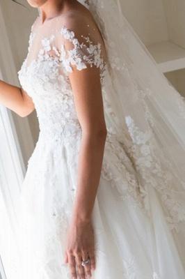 Glamorous Tulle Jewel Beading Appliques  A-Line Wedding Dresses_3