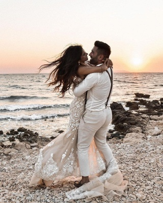Elegant Spaghetti Straps White Tulle Mermaid Wedding Dresses With Lace_2